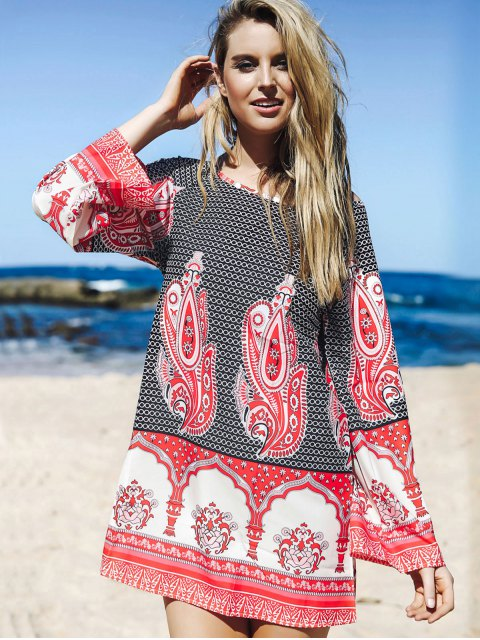 sale Flare Sleeve Printed Tunic Dress - COLORMIX M Mobile