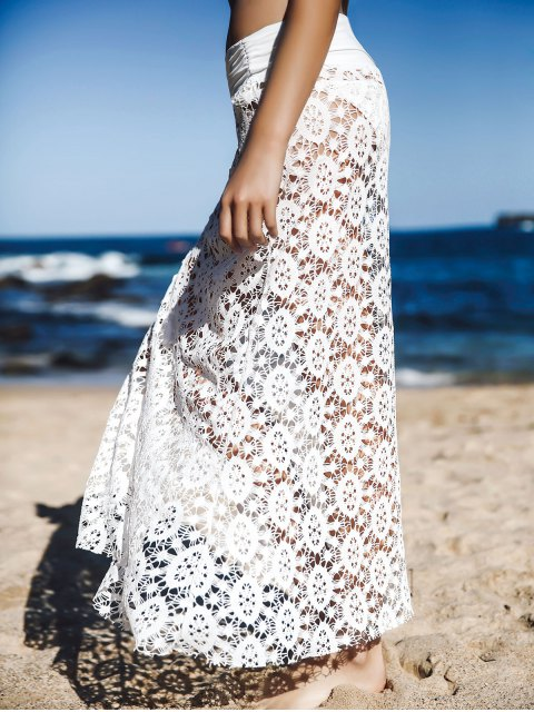 Solid Color Lace Cover Up Jupe - Blanc M Mobile