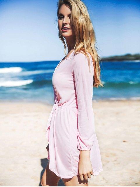 latest Long Sleeve Irregular Hem Dress - PINK M Mobile
