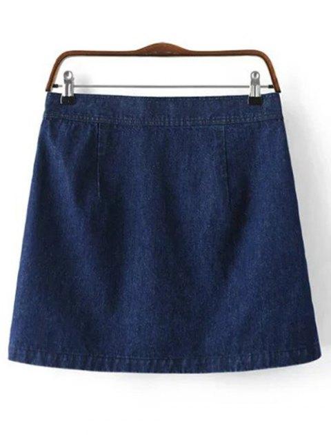 fashion Button Design Mini Denim Skirt - DEEP BLUE L Mobile