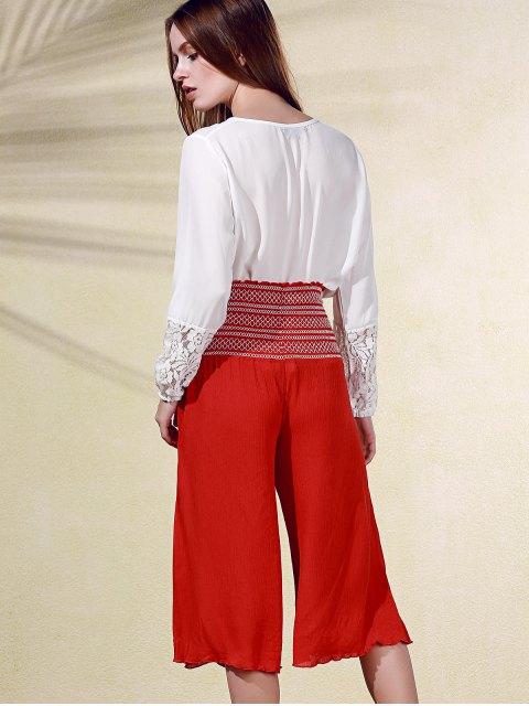 lady Embroidery High Waist Ninth Pants - VERMILION M Mobile