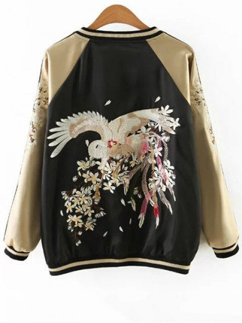 chic Embroidered Reversible Satin Bomber Jacket - BLACK AND GOLDEN XL Mobile