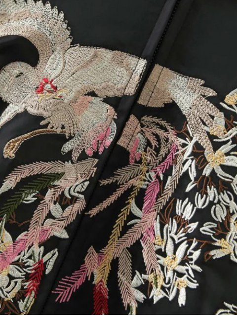 sale Embroidered Reversible Satin Bomber Jacket - BLACK AND GOLDEN S Mobile