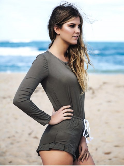 outfits Long Sleeve Ruffle Hem Romper - ARMY GREEN L Mobile