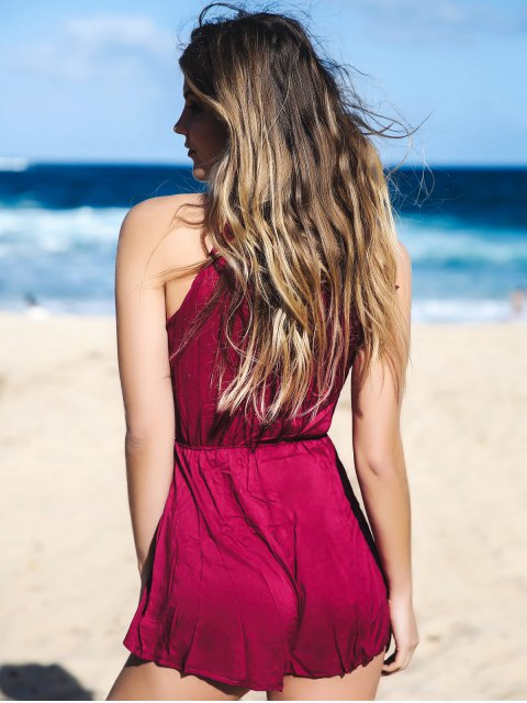 womens Solid Color Mock Neck Drawstring Romper - WINE RED S Mobile