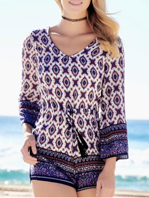 outfits Ethnic Print Long Sleeve Romper - COLORMIX XL Mobile