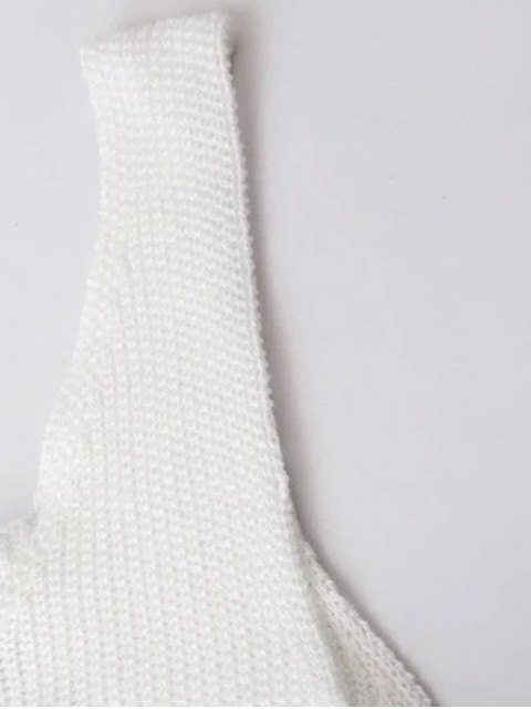 fashion Button Design Irregular Sweater Dress - WHITE S Mobile