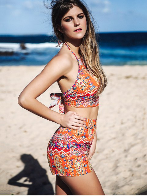 buy Halter Backless Crop Top and Printed Shorts Suit - ORANGE S Mobile
