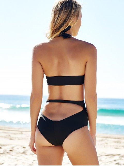 fancy Cutout Black Bandage One-Piece Swimwear - BLACK M Mobile