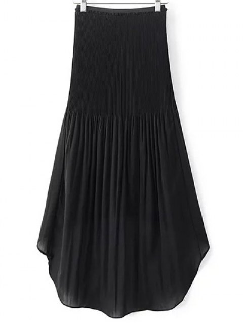 outfit Hi-Lo Pleated Chiffon Skirt - BLACK S Mobile
