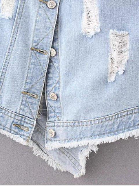 best Ripped Denim Suspender Skirt - LIGHT BLUE L Mobile