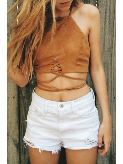 shop Lace Up Pure Color Cami Crop Top - BROWN S Mobile