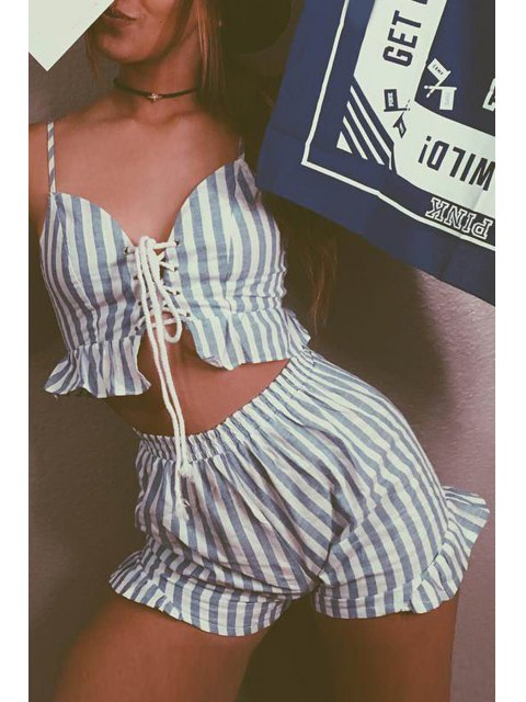 women's Cami Striped Crop Top and Wide Leg Shorts Suit - LIGHT BLUE L Mobile