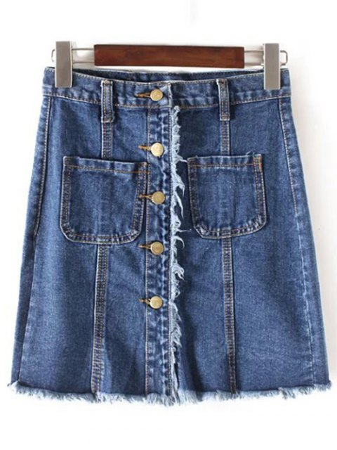 fashion Fringes High Waisted Single-Breasted Denim Skirt - CADETBLUE S Mobile