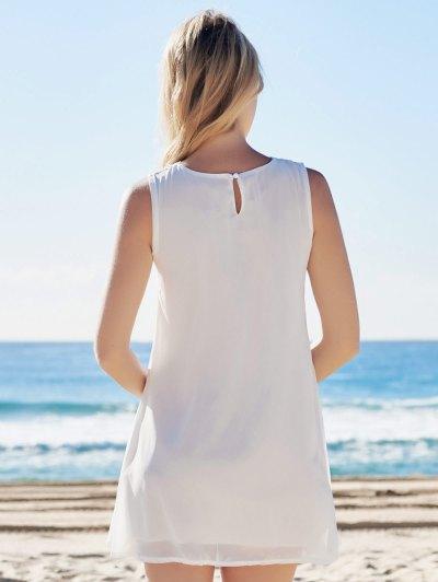 Spliced Hollow Out White Chiffon Dress - WHITE L Mobile