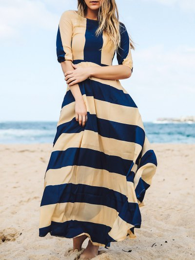Striped Scoop Neck 3/4 Sleeves Maxi Dress - DEEP BLUE L Mobile
