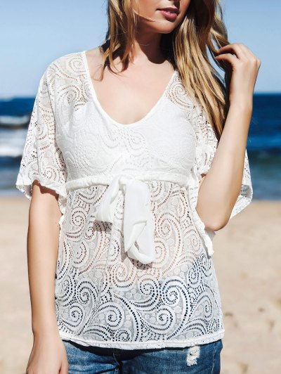 Lace Sheer Front Tie Cover Up - White One Size(fit Size Xs To M)