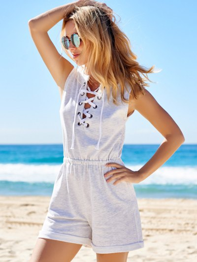 Sleeveless Lace-Up Playsuit - LIGHT GRAY L Mobile