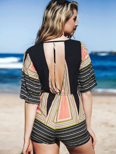 Printed Plunging Neck 3/4 Sleeve Romper - COLORMIX XL Mobile