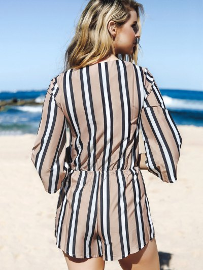 Striped Plunging Neck 3/4 Sleeve Drawstring Romper - KHAKI M Mobile