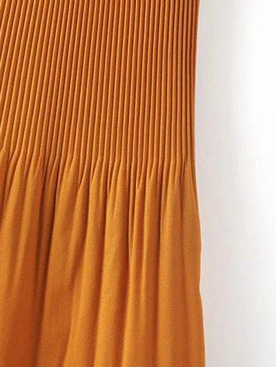 Hi-Lo Pleated Chiffon Skirt - BROWN S Mobile