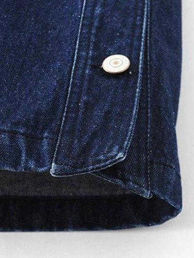 Button Design Mini Denim Skirt - DEEP BLUE L Mobile