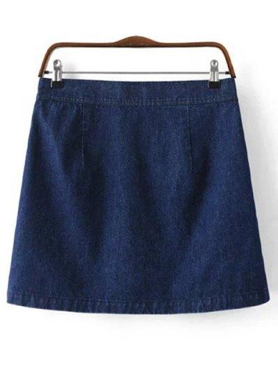 Button Design Mini Denim Skirt - DEEP BLUE M Mobile