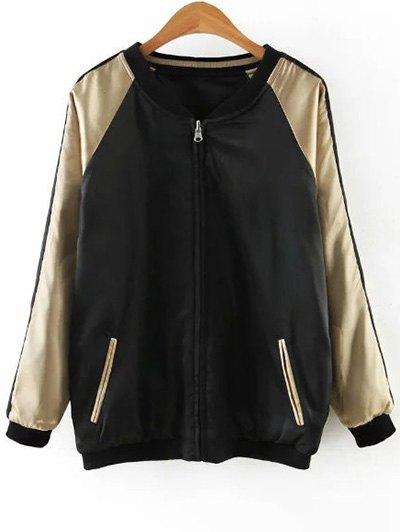 Embroidered Reversible Satin Bomber Jacket - BLACK AND GOLDEN XL Mobile