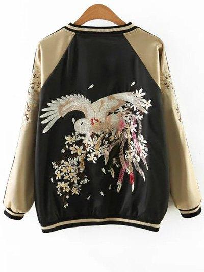 Embroidered Reversible Satin Bomber Jacket - BLACK AND GOLDEN L Mobile