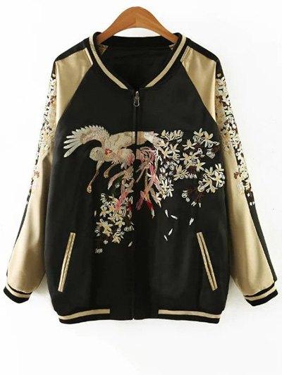 Embroidered Reversible Satin Bomber Jacket - BLACK AND GOLDEN M Mobile