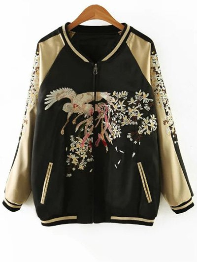 Embroidered Reversible Satin Bomber Jacket - BLACK AND GOLDEN S Mobile