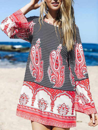 Flare Sleeve Printed Tunic Dress - L