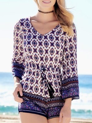 Ethnic Print Long Sleeve Romper