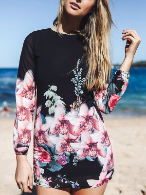 Printed Chiffon Long Sleeves Round Collar Dress - Black