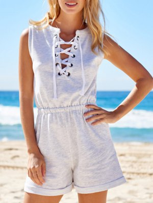 Sleeveless Lace-Up Playsuit - Light Gray