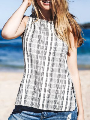 Striped Side Slit Round Neck Sleeveless Tank Top - Gray