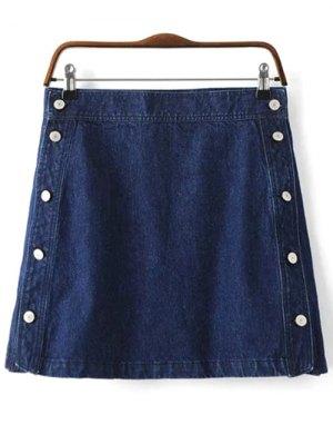 Button Design Mini Denim Skirt - Deep Blue
