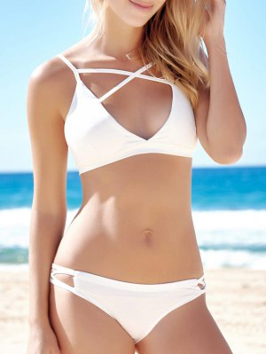 Halter Criss-Cross Pure Color Bikini Set
