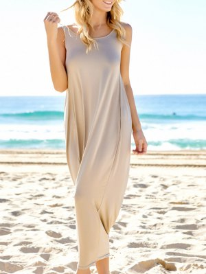 Backless Maxi Long Tunic Sundress - Light Khaki