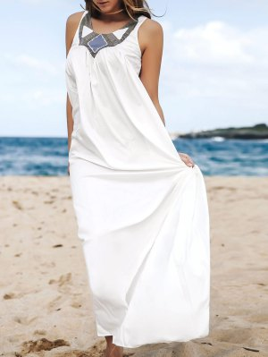 Jewel Neck Smock Summer Maxi Dress - White
