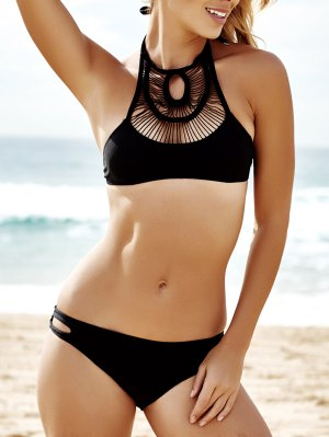 Pure Color Hollow Out Bikini Set - Black