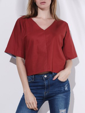 Pure Color Plunging Neck Half Sleeve Blouse - Red