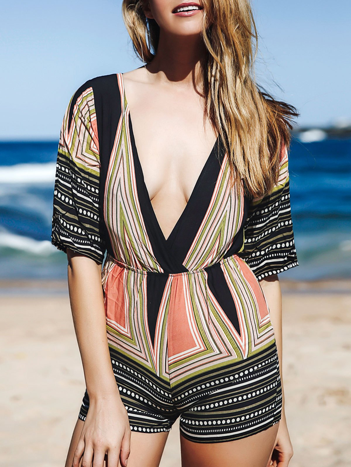 Plunging Neck 3/4 Sleeve Printed Romper