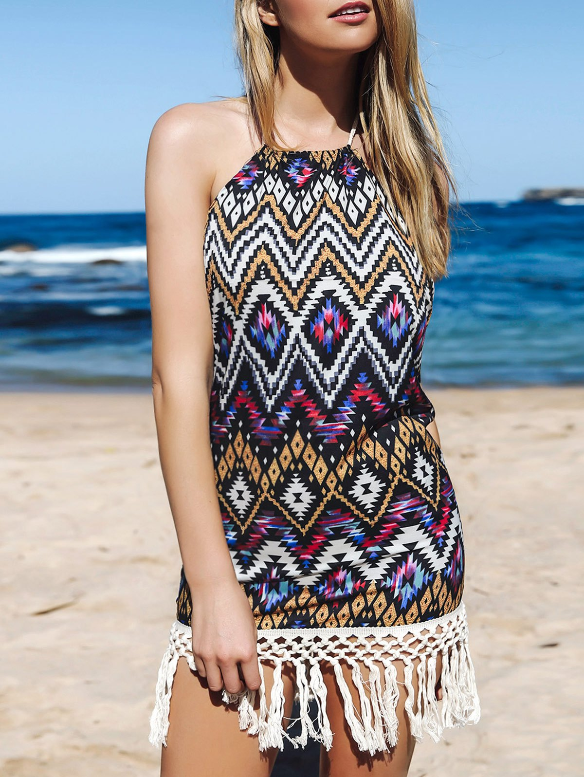 Halter Sleeeveless Backless Fringe Geometric Print Dress