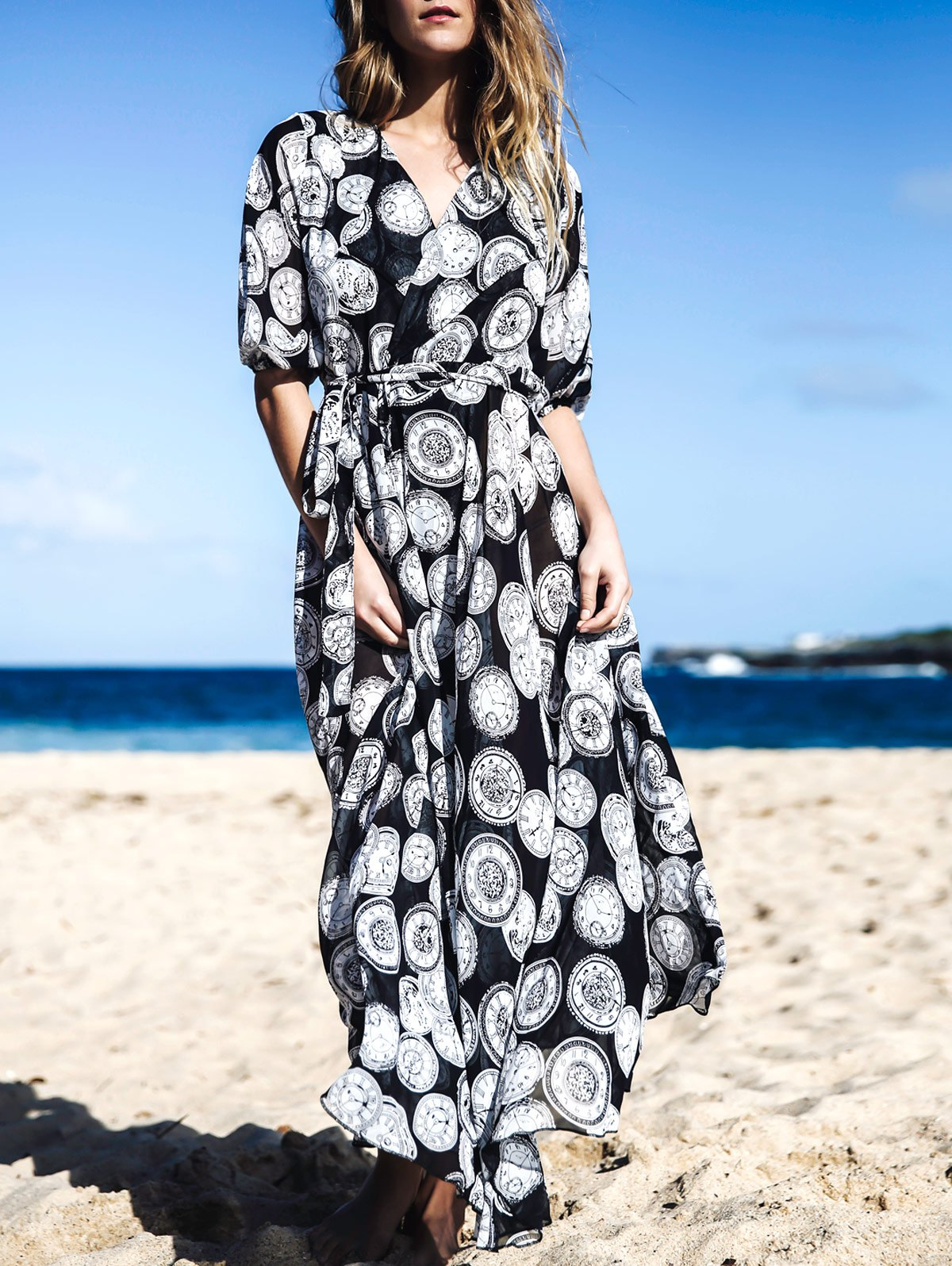 Half Sleeve Round Print Extra-Long Chiffon Sunscreen Blouse
