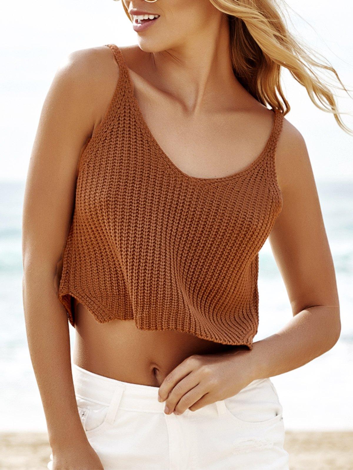 Scoop Neck Sleeveless Khaki Knit Crop Top