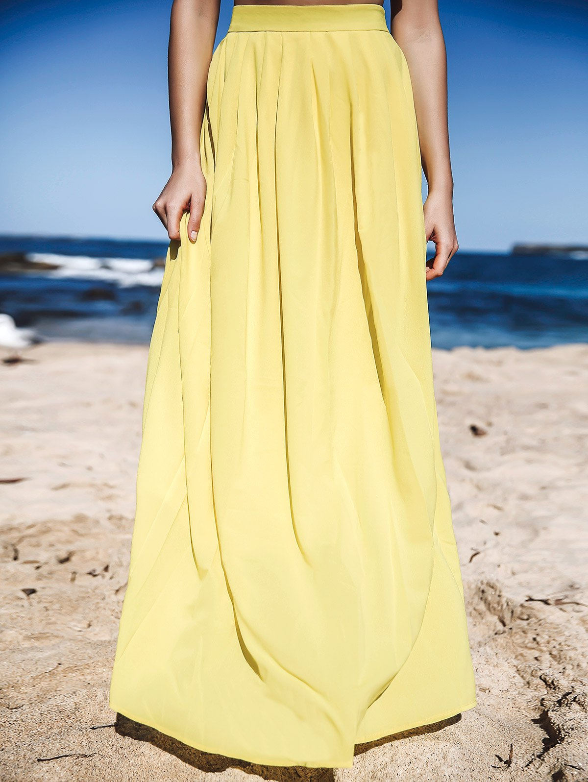 Yellow High Waisted Maxi Skirt - YELLOW S