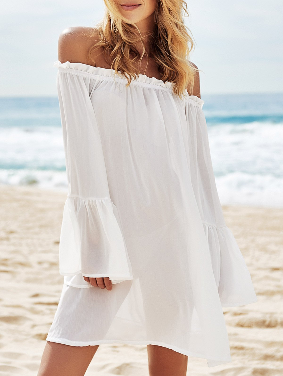 Slash Neck See-Through Solid Color Cover-Up - WHITE ONE SIZE(FIT SIZE XS TO M)