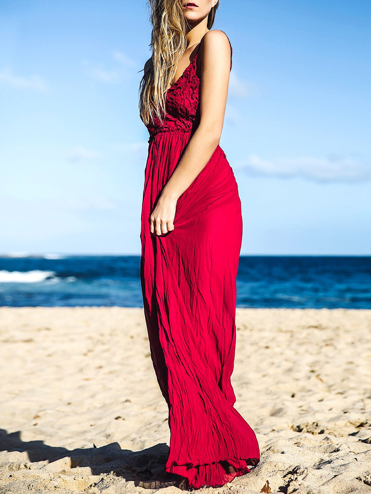 Lace Spliced Open Back Maxi Dress - WINE RED S