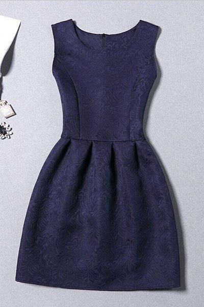 Sleeveless Jacquard Mini Dress